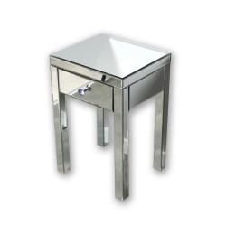 Lustrzany stolik nocny Vera - srebrny