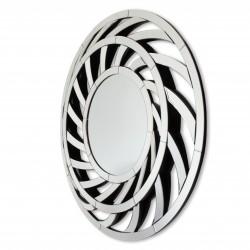 Leto - okrągłe lustro dekoracyjne w ażurowej, lustrzanej ramie