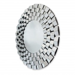 Eris - okrągłe lustro dekoracyjne w ramie lustrzanej