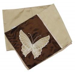 Bieżnik brązowy satynowy z motylem MC-4915-2