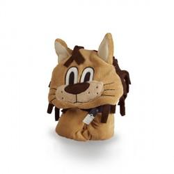 Kocyk pluszowy dla dziecka z kapturem - Lew