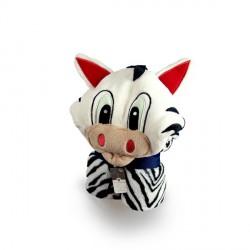 Kocyk pluszowy dla dziecka z kapturem - Zebra